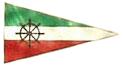 Nautiska klubbens standert i grönt vitt och rött med en centralt placerad nautisk ratt